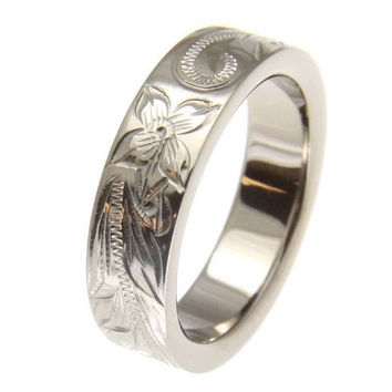 TITANIUM HAND ENGRAVED HAWAIIAN PLUMERIA SCROLL BAND RING 6MM