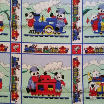 Kids fabric with trains engine caboose animals patchwork quilt squares  cotton print quilting sewing material BTY train fabric squares