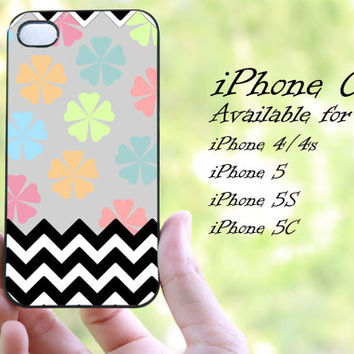 colorful flowers chevron design iphone case for iphone 4 case, iphone 4s case, iphone 5 case, iphone 5s case, iphone 5c case