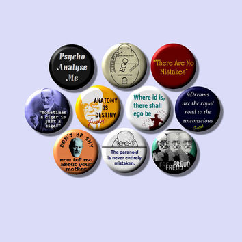 "Sigmund Freud Psychiatry Psychology father of psychoanalysis 10 Pinback 1"" Buttons Badges Pins"