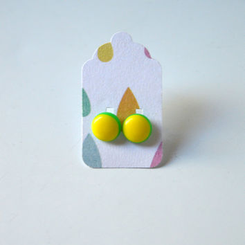Stud Earrings - Neon Yellow and Neom Green Stud Earrings - Tiny Stud Earrings - Post Earrings - Colorful Earrings - Handmade Enamel Studs
