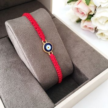 Red string evil eye bracelet - red string bracelet - blue evil eye jewelry - adjustable bracelet - red evil eye charm - Turkish nazar boncuk