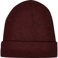 River Island MensDark red twist knit beanie hat