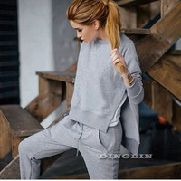 Winter Women's Casual Tracksuit Clothing Long Sleeve O Neck Split Tops Blouses Pockets Pants Suit Tracksuits
