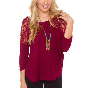 Dulce Lace Top - Burgundy