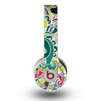 The Shades of Green Swirl Pattern V32 Skin for the Original Beats by Dre Wireless Headphones