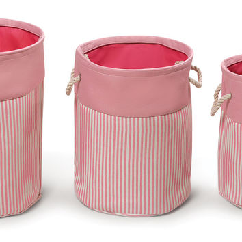 Badger Baskets Nesting Round 3 Basket Hamper Set - Pink Stripe