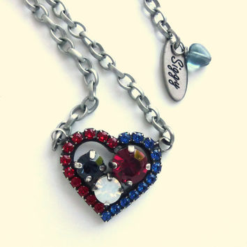 Swarovski crystal heart necklace, red white and blue, 4th of July bling, GREAT PRICE, siggy design
