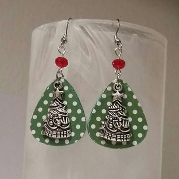 Guitar Pick Earrings - Betsy's Jewelry- Christmas  Jewelry - Holiday  - Christmas Tree - Polka Dots - Upcycled Jewelry