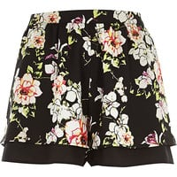 River Island Womens Black floral print shorts
