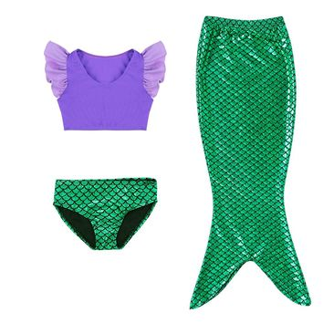 3-11Y Baby Girls Kid Mermaid Tail Dress Costume Vest Top Mermaid Tail Beachwear Split Swimsuit Mermaid Swimmable Bathing Costume