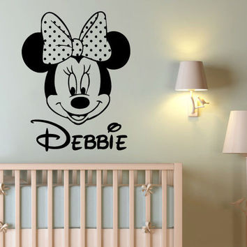 Wall Decal Name Personalized Custom Minnie Mouse Sticker Vinyl Art Nursery SM75