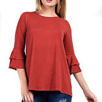 Betsy Red Couture Womens Ruffled 34 Sleeve Tunic S3X