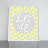 Love poster, yellow and grey geometric print, girly wall art, bedroom decor, wall art prints, typographic print, ideal wedding gift idea