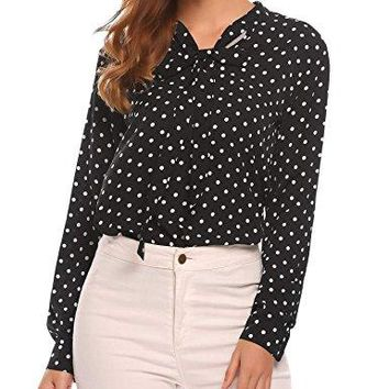 Zeagoo Women Bow Tie Chiffon Blouse Cuffed Sleeve Polka Dots Button Down Shirt Tops