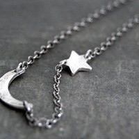 Tiny Rustic Crescent Moon and Star Necklace by SoulPeaces on Etsy