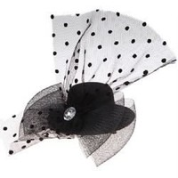 Small Top Hat Hair Clip with Diamond and Feather Veil