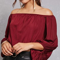 Off-the-Shoulder Satin Top