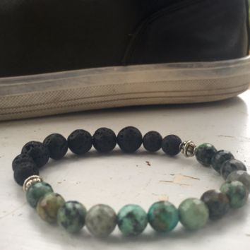 Mens Beaded Bracelet w/ Lava stone and African Turquoise beads