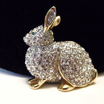 Carolee Rabbit Pave Diamante Glass Rhinestone Gold Plate Vintage Figural Forest Brooch Pin