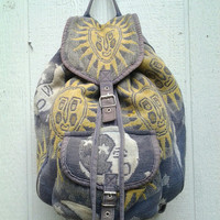 90s Sun and Moon Woven Rucksack Backpack by SIlVERHIl on Etsy