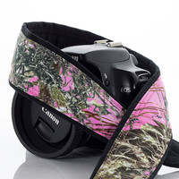 Pink Camo dSLR Camera Strap, SLR, Camouflage, Canon camera strap, Nikon camera strap, Pentax, Sony etc, Mirrorless camera, 245