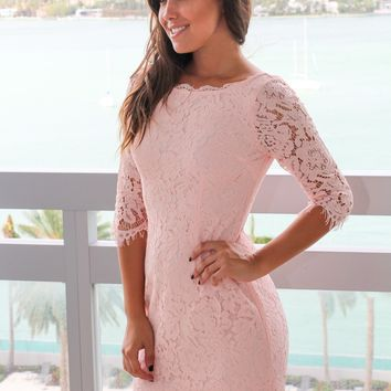 Blush Lace Short Dress with 3/4 Sleeves