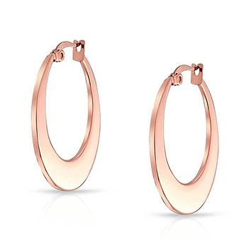 Rose Gold Plated Flat Oval Hoop Earrings Stainless Steel 1 25 Dia