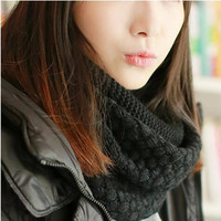 scarves Warm Two Circle Cable Knit Cowl Neck Scarf bufandas de invierno SM6