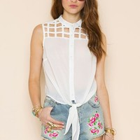 Caged Tie Blouse in Clothes Tops Shirts + Blouses at Nasty Gal