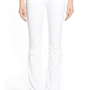 7 For All Mankind® Braided Trim Flare Jeans (White Fashion) | Nordstrom