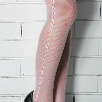 Vintage High Quality Baby Pink Side Seamed Steampunk, Punk, Mod Nylon Tights Pantyhose One Size