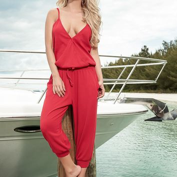 Red Casual Jumpsuit