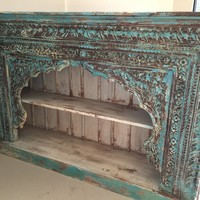 Antique Indian Book Case Blue Bookshelf Arched Frame Patina Carved Wood