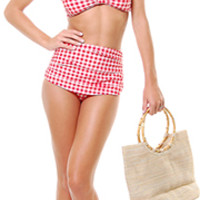 SALE! Vintage Inspired 1950s Style Red & White Gingham Two Piece Swimsuit