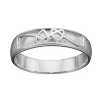 Sterling Silver Knotted Heart Ring (Grey)