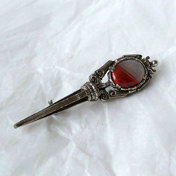 Vintage Miracle Art Glass Celtic Style Dagger Dirk Brooch