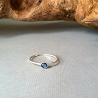 Abalone Solitaire Ring, sterling silver stacking / boho, simple, hippie, minimalist, everyday wear