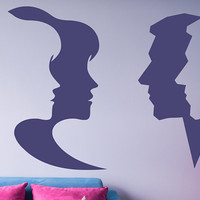 Silhouette Face Decal, Hair Salon Decal, Store Front Decal, Man And Woman Beauty Shop Decor, Barber Shop Decor, Unisex Salon Decal  nm082