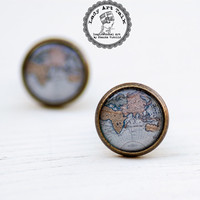 Atlas Stud Earrings, Blue Map, Photo Jewelry, Art Jewelry, Post Earrings, Picture Earrings, Map Jewelry, Globe Jewelry, Old Map, Vintage