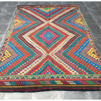 Turkish Kilim, Hand Woven Turkish Rug 8,8'X5,7, Kelim Rug, Turkish Kilim Rug, Ethnic Kelim Rug, Vintage Wool Carpet, Rustic Kilim Rug