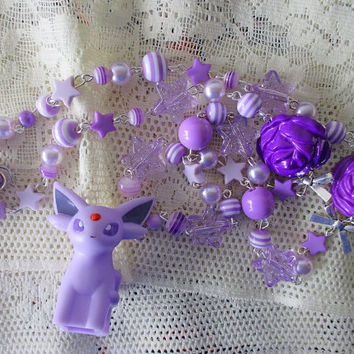 Pokémon Necklace - ESPEON - BANDAI Figure Necklace - Eeveelutions, Pastel Goth