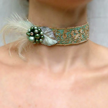 Victorian Choker - Antique Green Silk Pearl Feather Collar - Bridal Wedding Renaissance