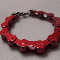Women's Red Bike Chain Bracelet