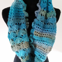 Infinity Scarf - Cowl Scarf, Ladies Scarf, Circle Scarf, Turquoise Scarf, Gift for Her, Valentine Day Gift, Crochet Scarf, Ruffle Scarf