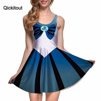 Qickitout Dress Slim Summer Dresses Women Clothing Sailor Moon Style Cosplay Costume DRESS Pleated Dresses Sundress Drop Ship