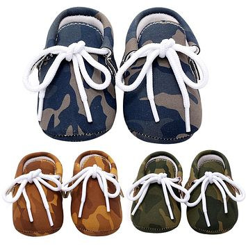 Baby Shoes PU Leather Camouflage Shoes For Girls Kids Newborn Boys Army Green Blue Brown Sneakers Shoes Autumn Spring