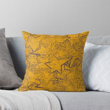 'Yellow Stars Painted Pattern' Throw Pillow by SpieklyArt