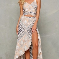 Ibiza Beige White Black Grey Bandana Print Spaghetti Strap Cross Wrap V Neck Crop Halter High Slit Asymmetric Two Piece Maxi Dress