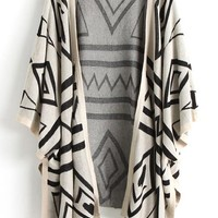 Beige Geometric Print Aztec Irregular Sleeveless Loose Casual Fashion Thin Blend Cardigan